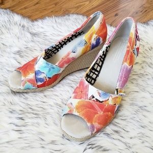Toms Floral Open Toe Espadrille Wedges Size 8